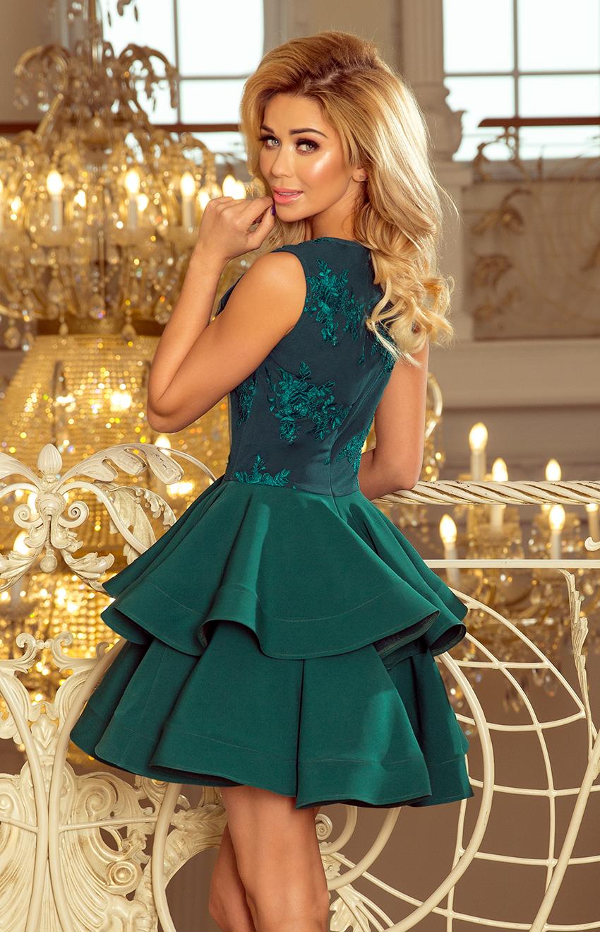 ... Koktejlové krátké šaty s dvojitou sukní NUMOCO® zelené empty 46cf85544d