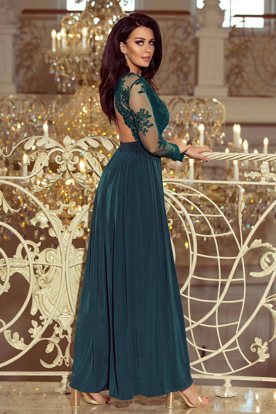 57ef1ce99f03 ... Společenské dlouhé šaty ARATI s krajkovými rukávy zelená empty