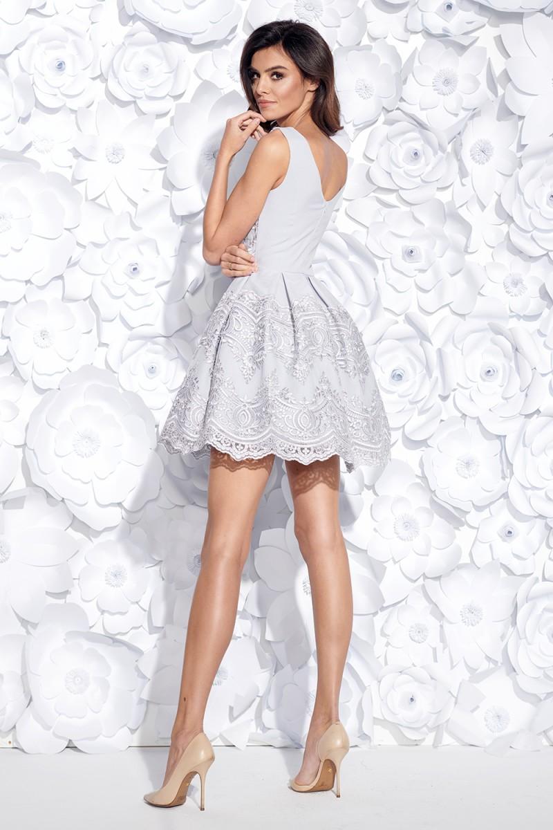4c9d8a323b98 Dámské koktejlové šaty s krajkou šedé Dámské koktejlové šaty s krajkou šedé  empty