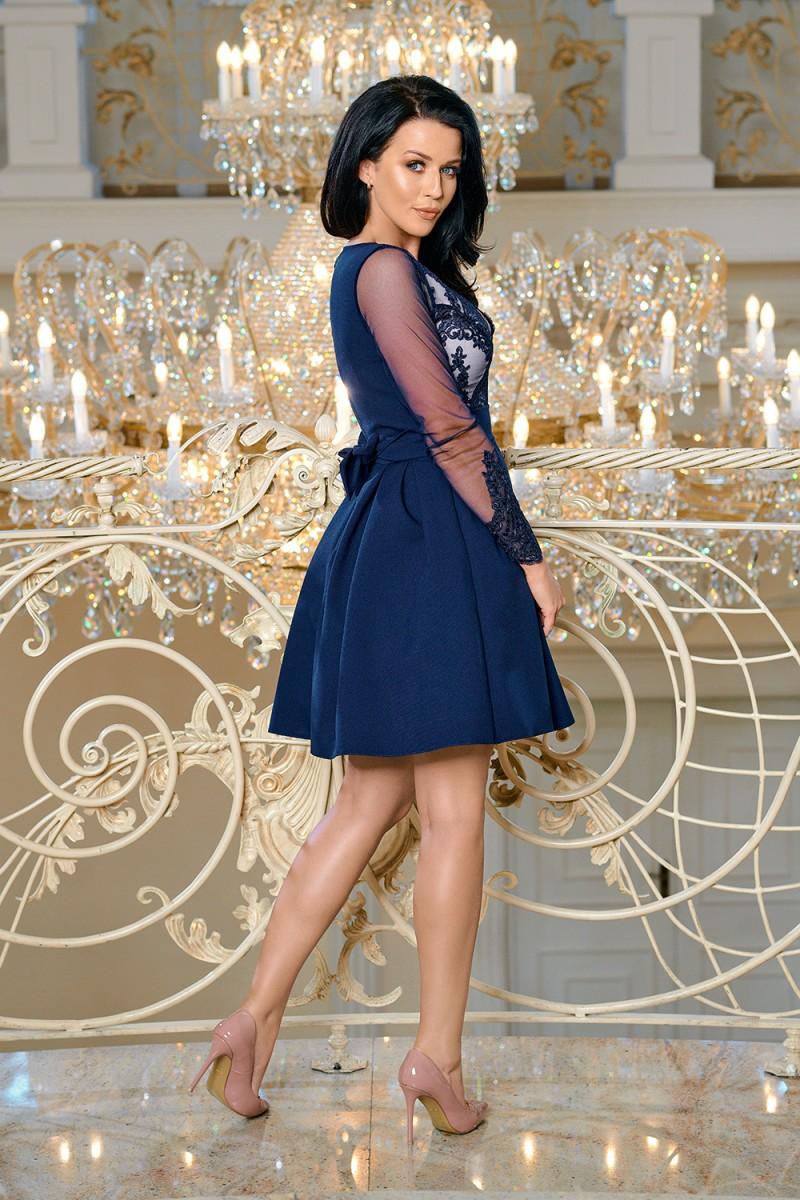 Dámské společenské krátké šaty LEENA modrá Dámské společenské krátké šaty  LEENA modrá empty 16d5612665