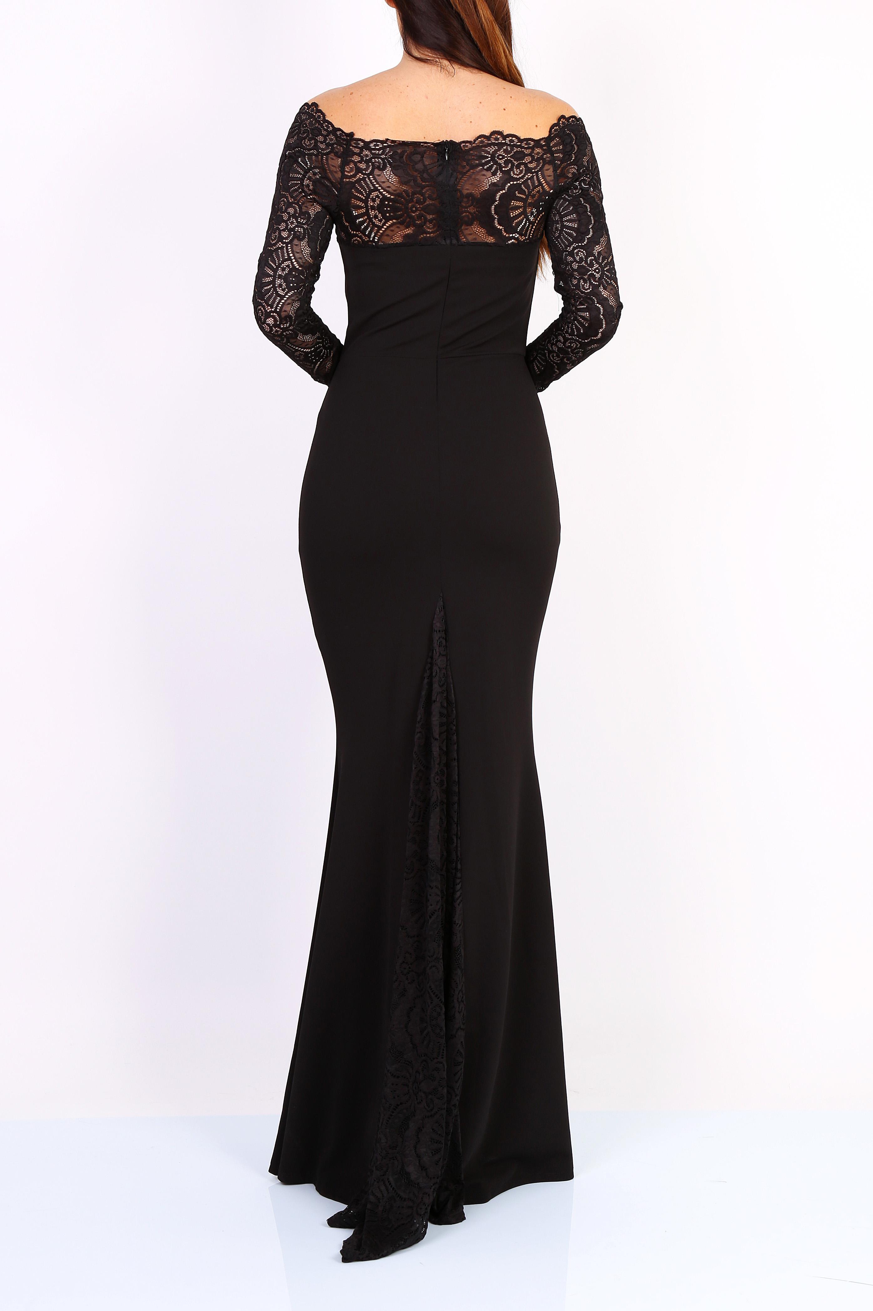 ... Dámské dlouhé šaty s krajkovými rukávy černé empty c7c5b0da97