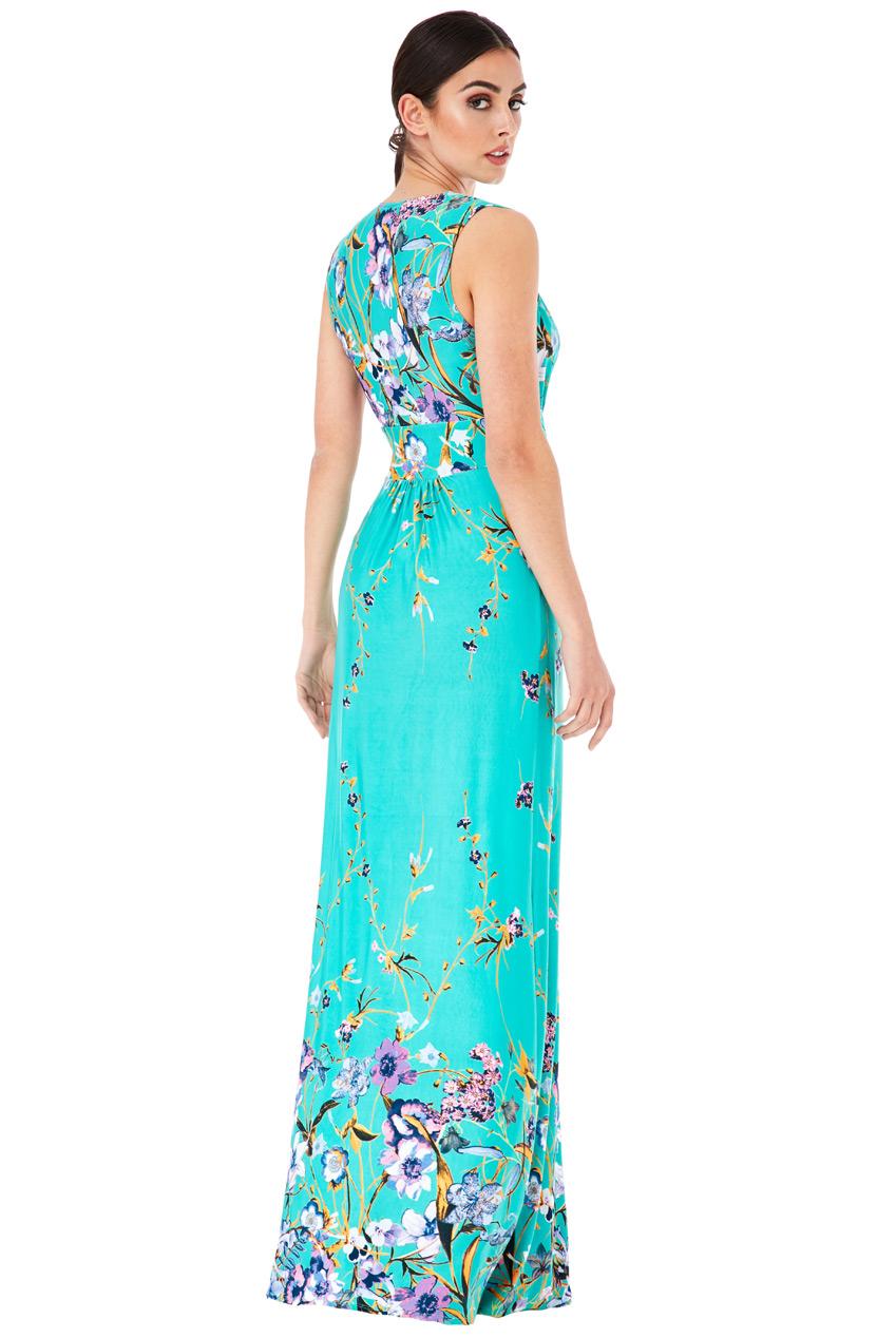 ... Dlouhé letní šaty s potiskem květů zelená empty c4f219eab7