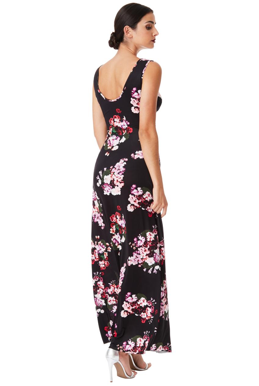 d908b37838e ... Dlouhé letní šaty s potiskem květů černá empty