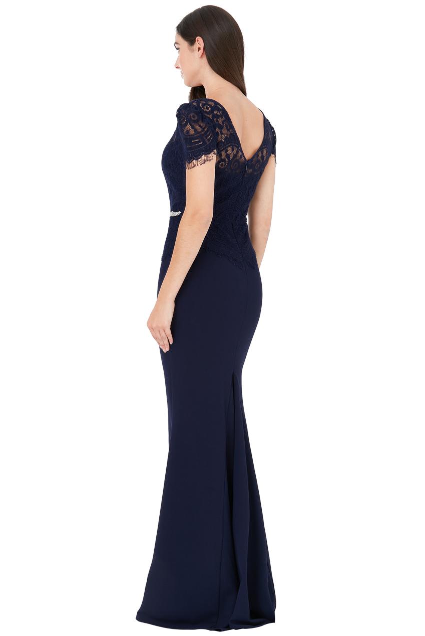 ... Společenské dlouhé šaty se štrasovým páskem ELLIS modrá empty b53d46b9ea