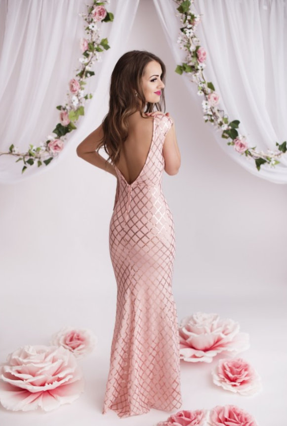 ... Dámské společenské šaty s flitry ENAÏS růžová empty bc6eb64857