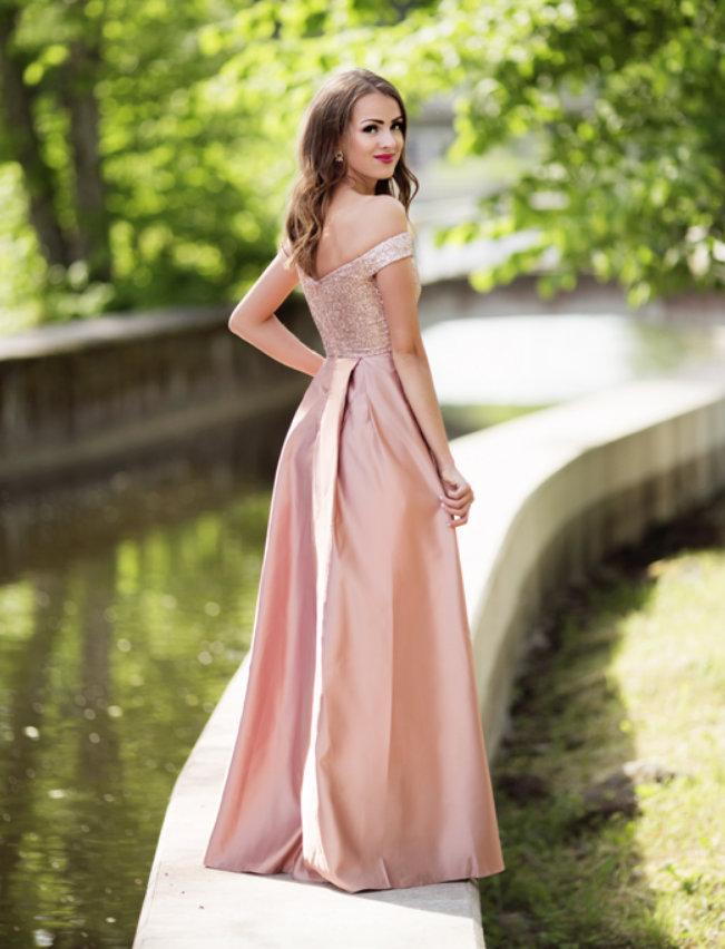 ... Dámské společenské dlouhé šaty s flitry AURÉLINE růžová empty 375442271e
