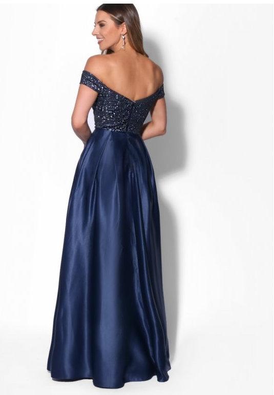 ... Dámské společenské dlouhé šaty s flitry AURÉLINE modrá empty b9054f2314