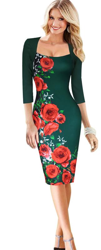85216a4749fa Dámské midi šaty s růžemi Dámské midi šaty s růžemi empty