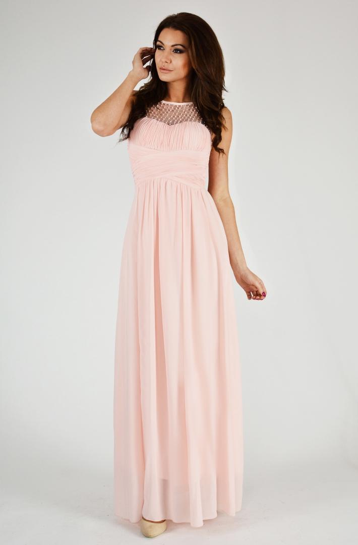 Dámské společenské šaty s korálky Eva   Lola růžová 605703040c