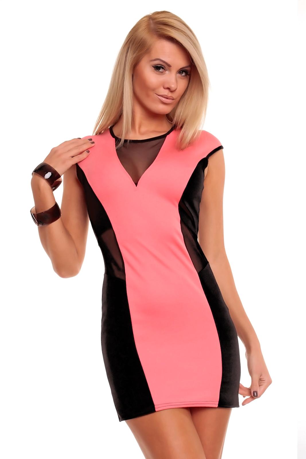 ea0a79cbe275 Dámské mini šaty s průstřihy AYANAPA růžová