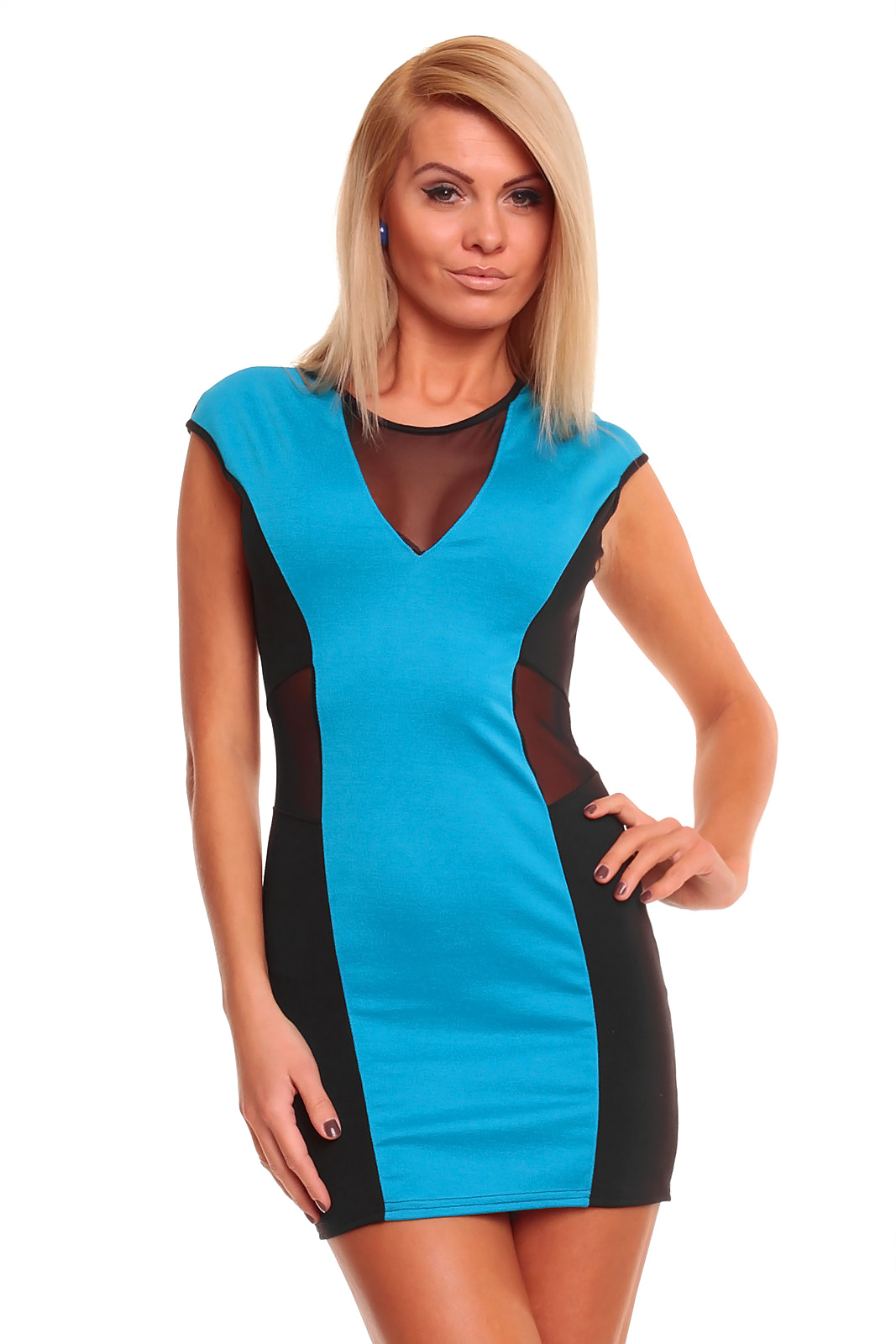 7527148fce5d Dámské mini šaty s průstřihy AYANAPA modrá