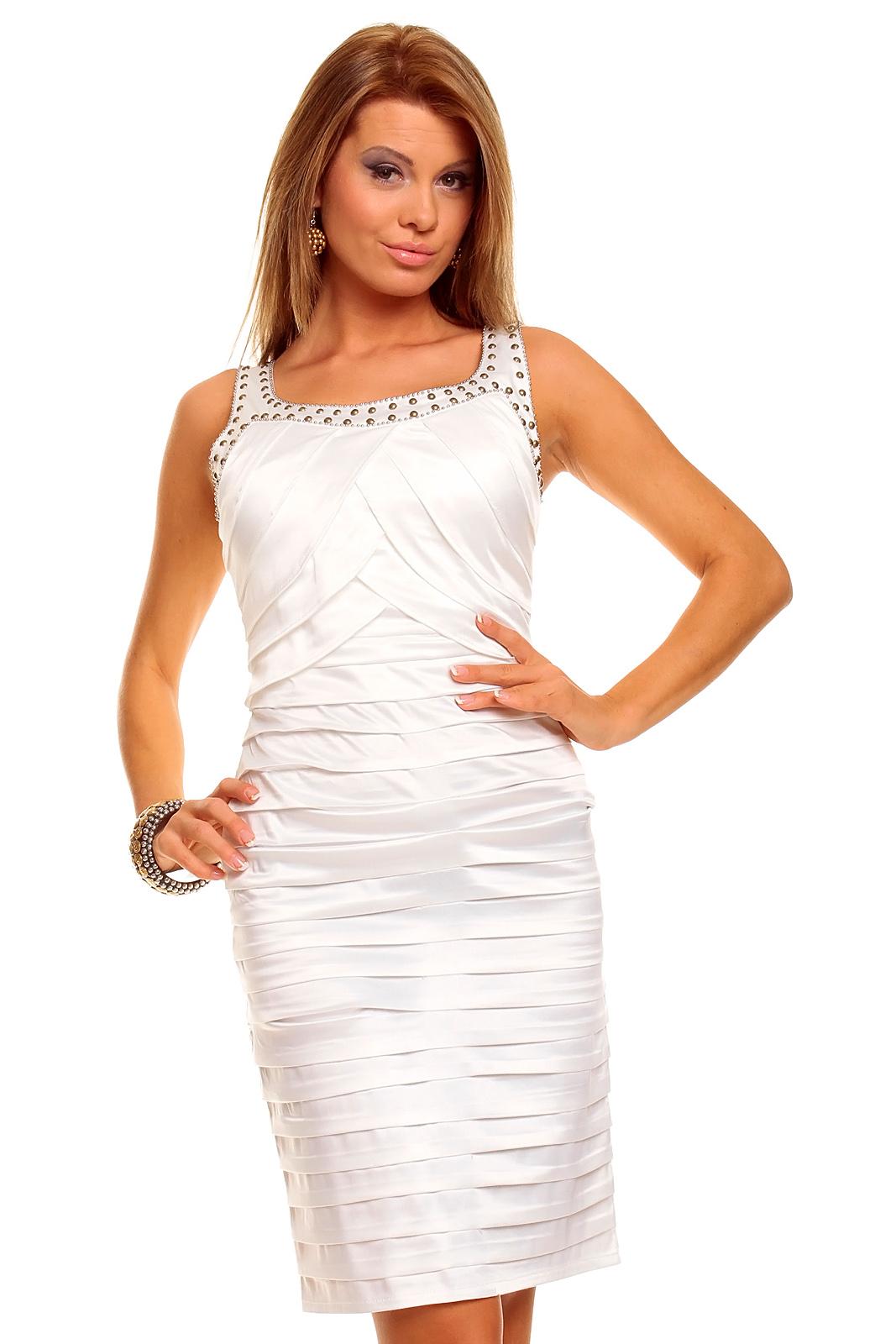5c655917bae Elegantní pouzdrové šaty značky Mayaadi Deluxe - bílé