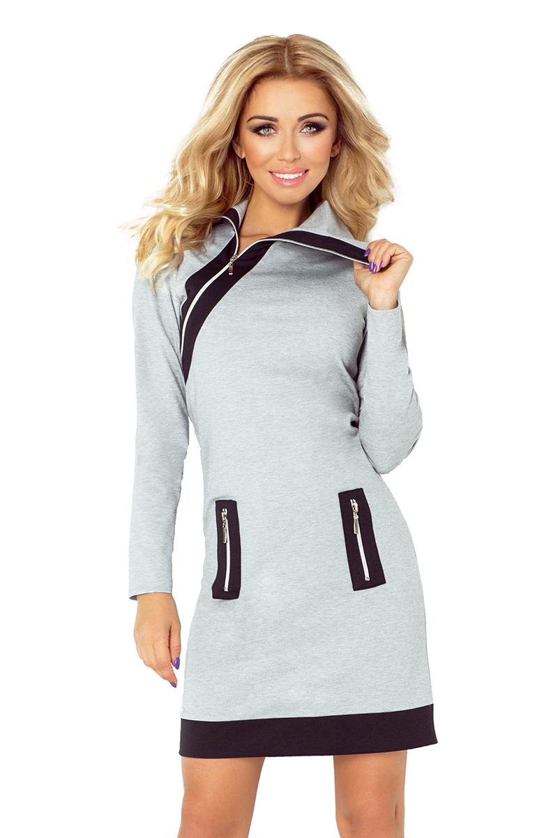 Dámské šaty se zipy NUMOCO 129-1 šedá (SKLADEM - objednejte do 12:00 a zítra může být zásilka u Vás (platí PO až ČT))