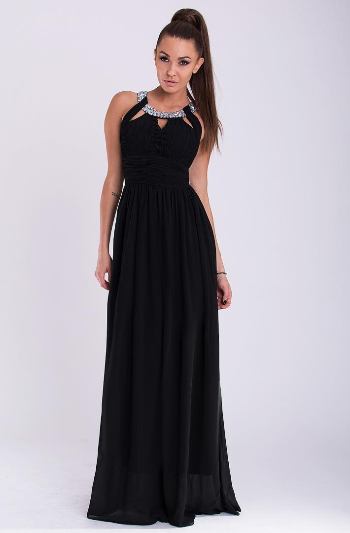 Eva & Lola dámské plesové a společenské dlouhé šaty černá (Dámské šaty)