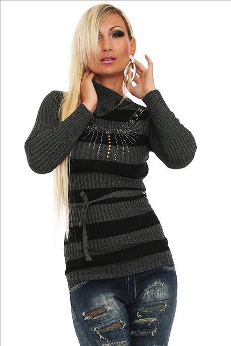 Dámský pulovr s páskem - šedý (Dámský pulovr)