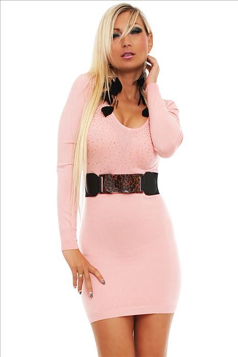 Dámské úpletové šaty Estelle Fashion - růžové 00c4082bc1