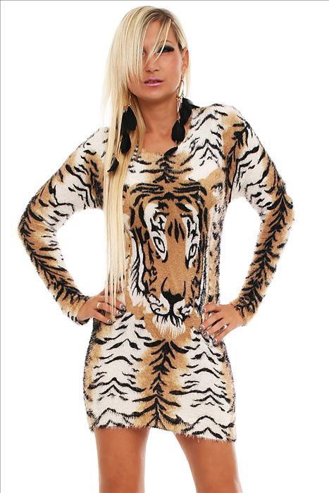 Dámské mini šaty svetr zvířecí vzor hnědá afc9d93870