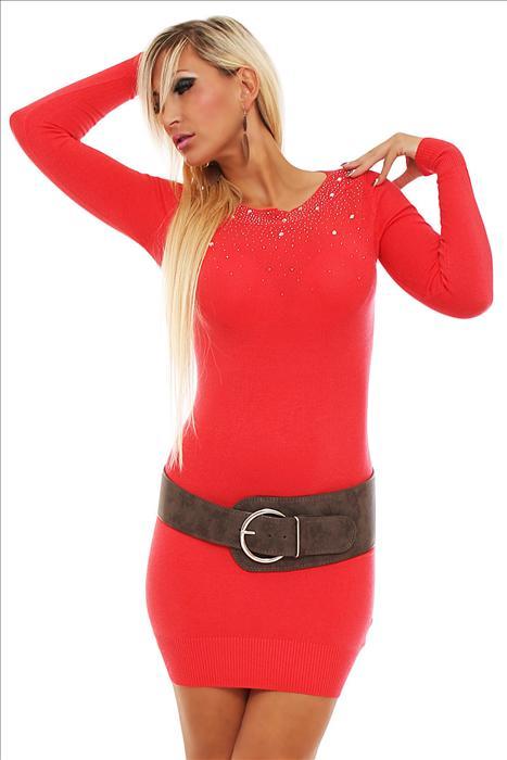 Dámské úpletové mini šaty červená 1dbfa14042