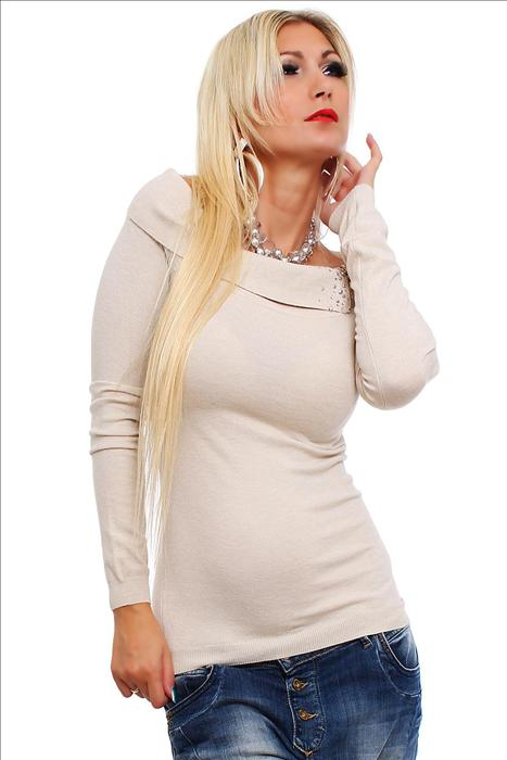 30d3e5be9cd Dámský pulovr s kamínky 088 béžová