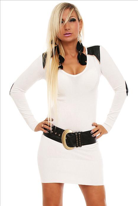 ESTELLE FASHION dámské úpletové mini šaty - bílé 0c80f62232