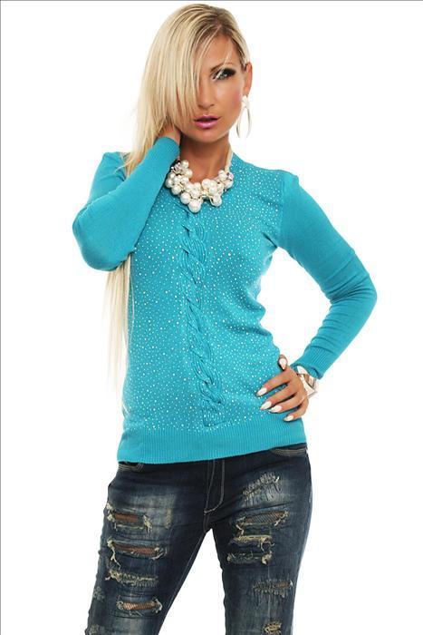 44020469448 Dámský pulovr s kamínky - tyrkys