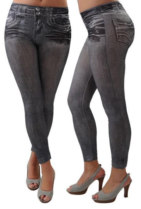 Legíny jeans - šedé (Dámské legíny)