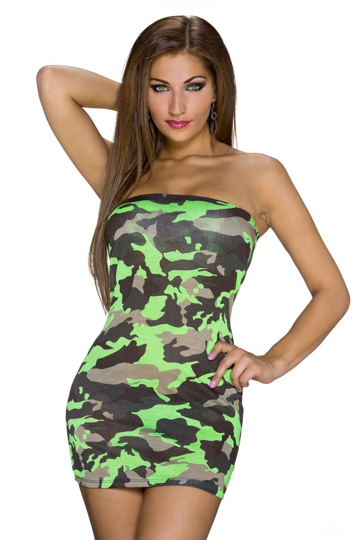 f64086196bbe Maskáčové mini šaty zelená