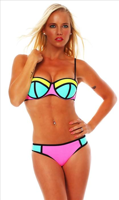 Barevné dámské plavky push-up (Dámské plavky)