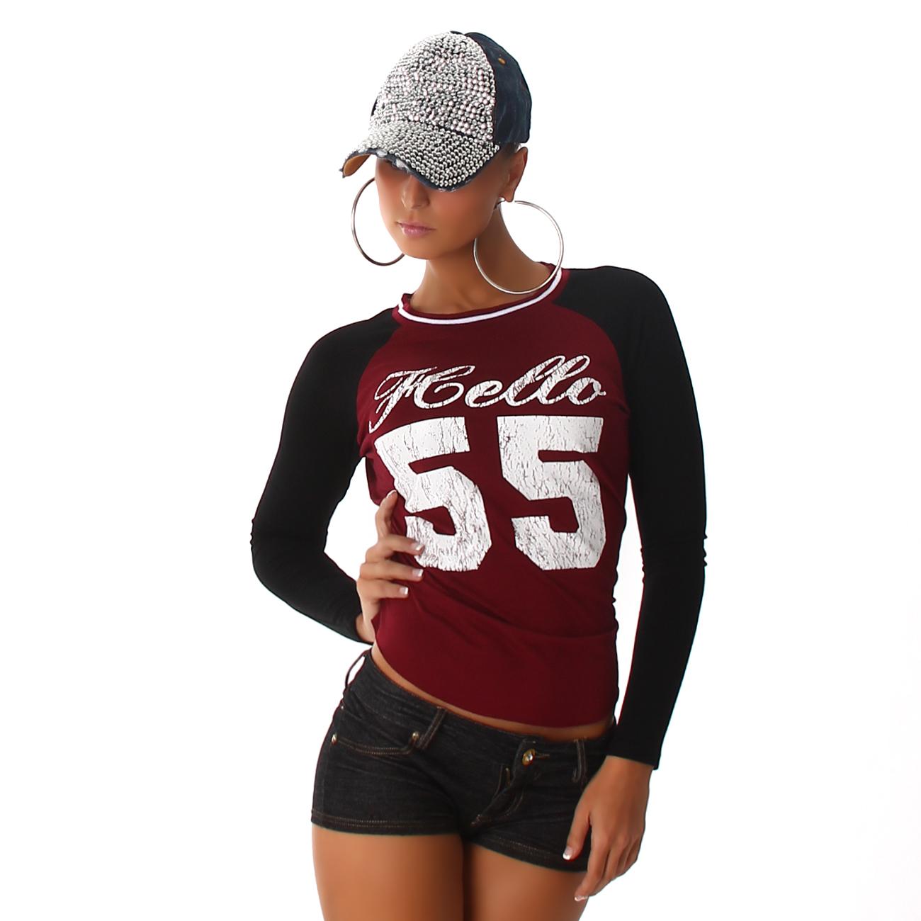 Voyelles dámské tričko s potiskem bordó 5e3ac52dc5
