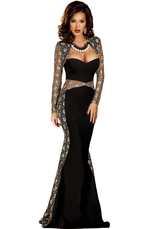 Dlouhé společenské šaty s krajkou 23H černá 2. jakost fd29dff373