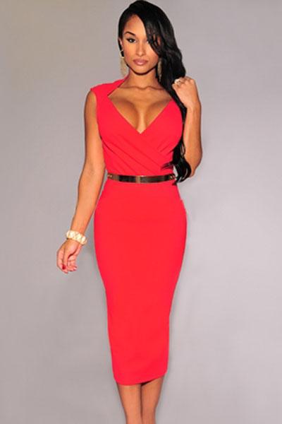 3501609e7330 Dámské stylové šaty - červené