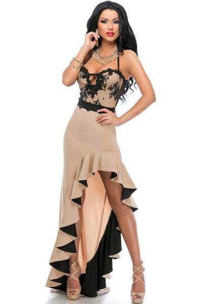 1da07f5fd3a Asymetrické společenské šaty s volánem 1119