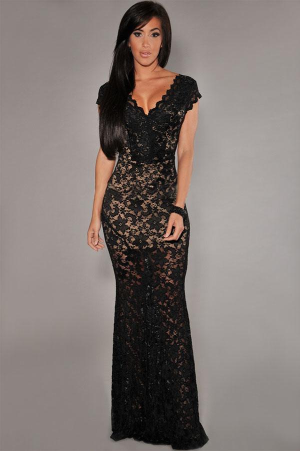 Krajkové dlouhé šaty černá 2771 1 2ff74a45a5
