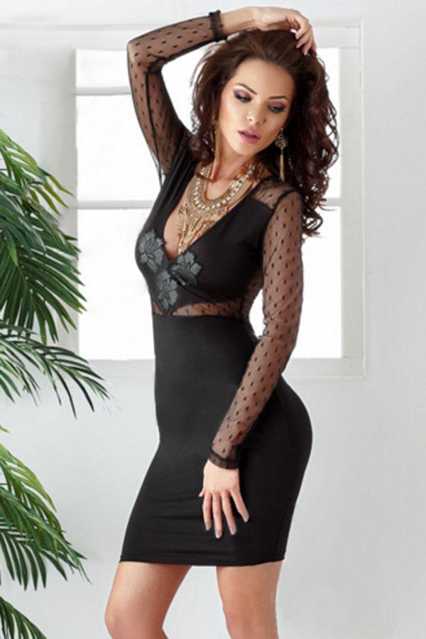 Dámské mini šaty s dlouhým rukávem černá b4152a66bc