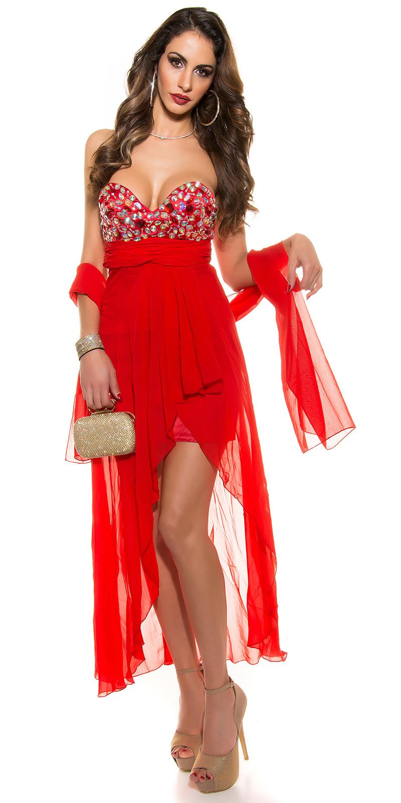d21ade94adf Luxusní dlouhé šaty Koucla 1042 červená