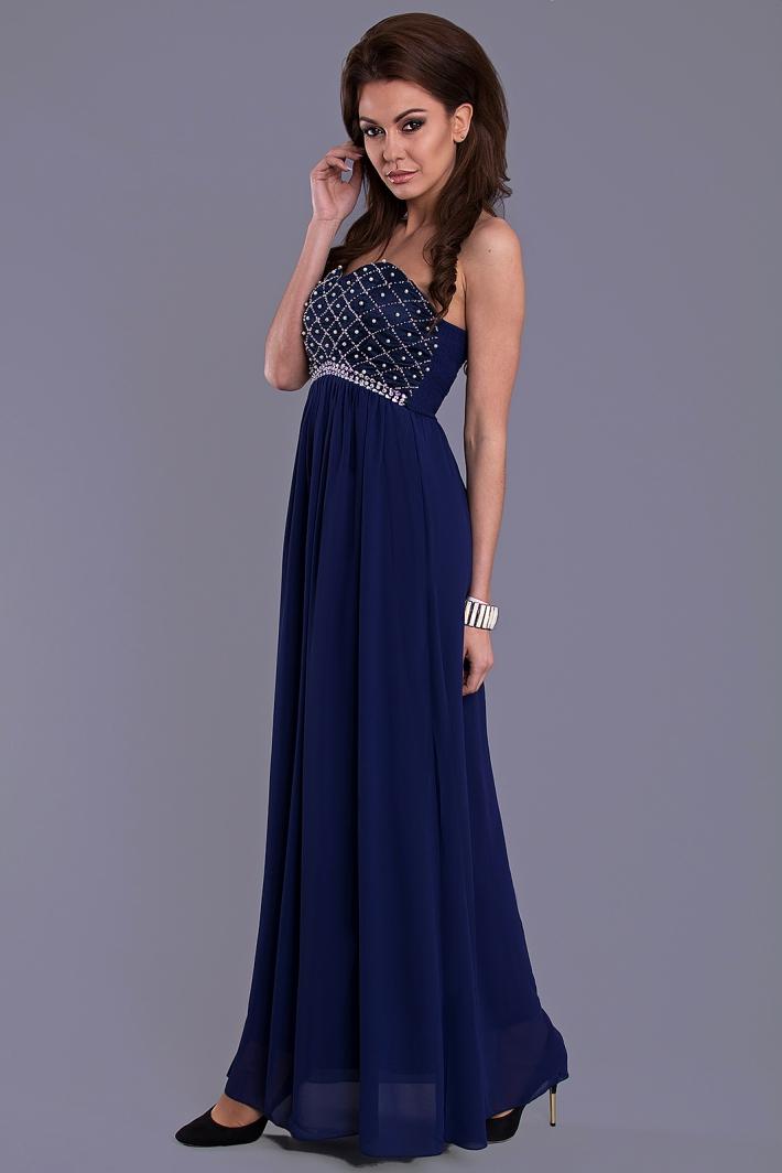 EVA LOLA společenské dlouhé šaty 1174 modrá M a7b6c0b8a5