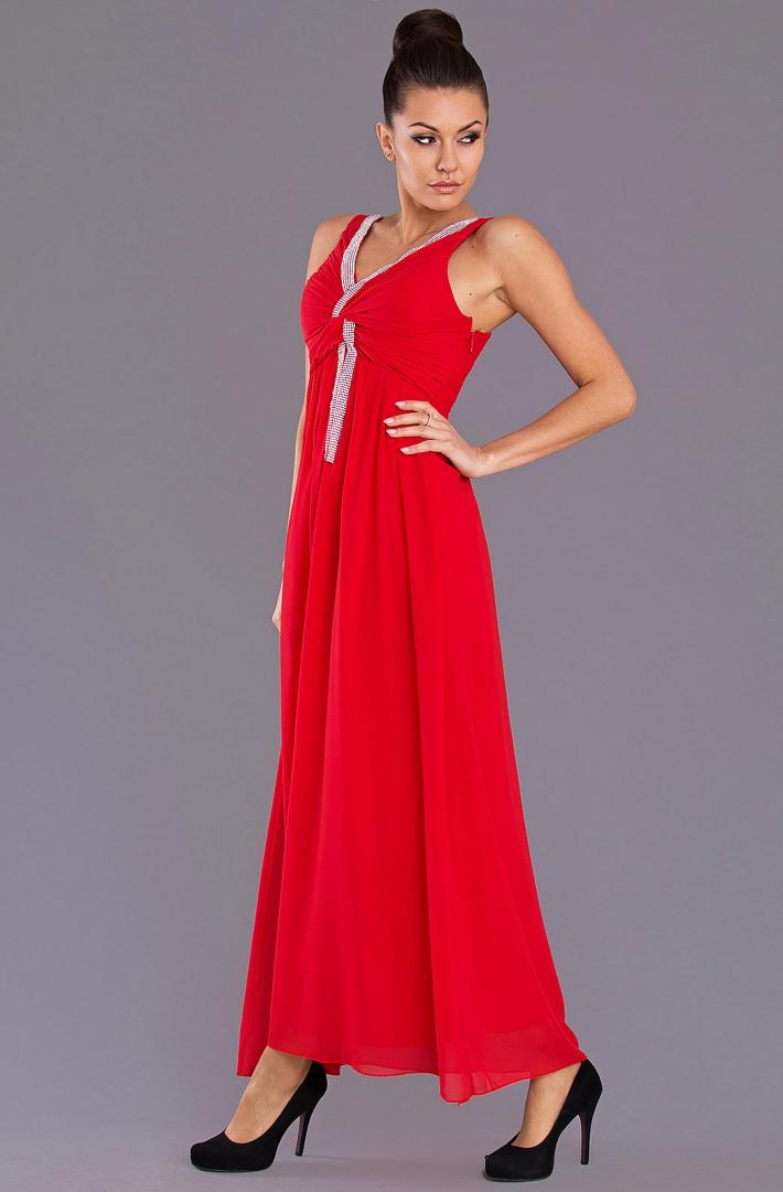Společenské šaty dlouhé 1177 červená S (Dámské šaty)
