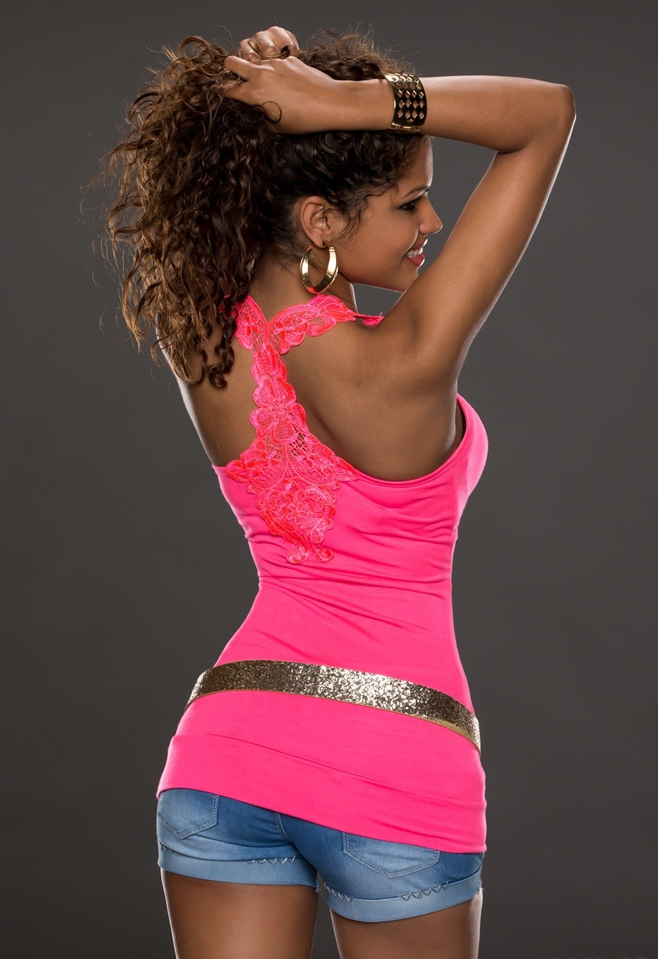 Sexy dámský top - růžový (Dámský top)