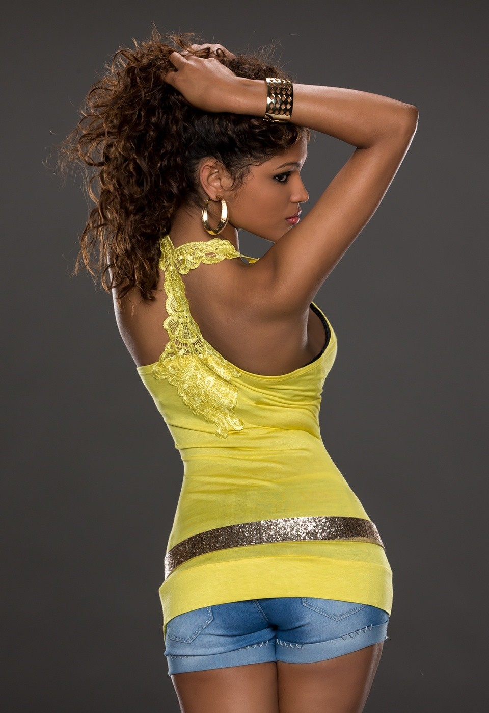 Sexy dámský top - žlutý (Dámský top)