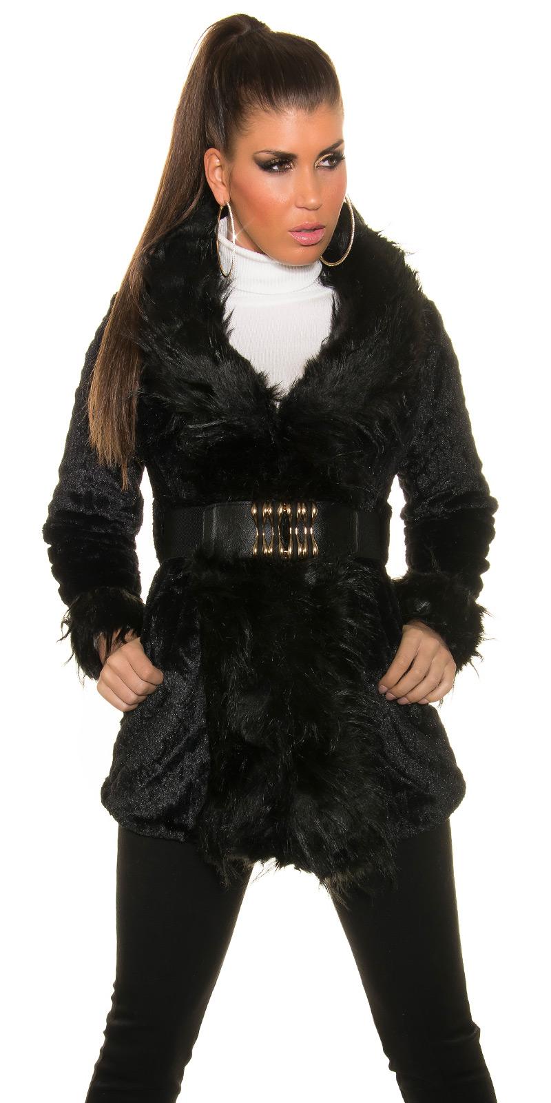 Dámský kabát/kožíšek Koucla černý (Dámský kabát)
