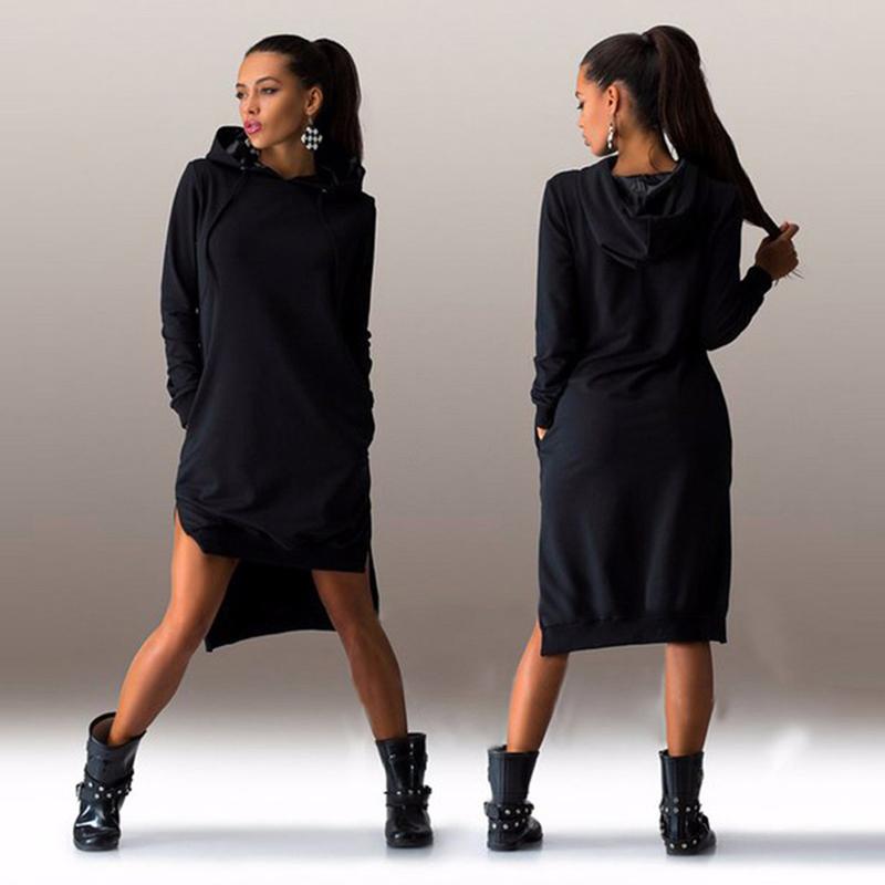 Sportovní dlouhá mikina/šaty černá (Dámská mikina/šaty)