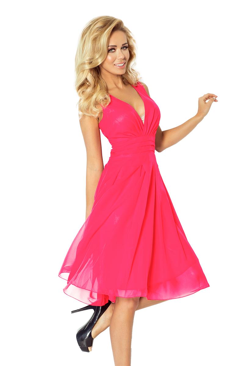 Dámské šifonové šaty NUMOCO 35-10 růžová (Dámské šaty)