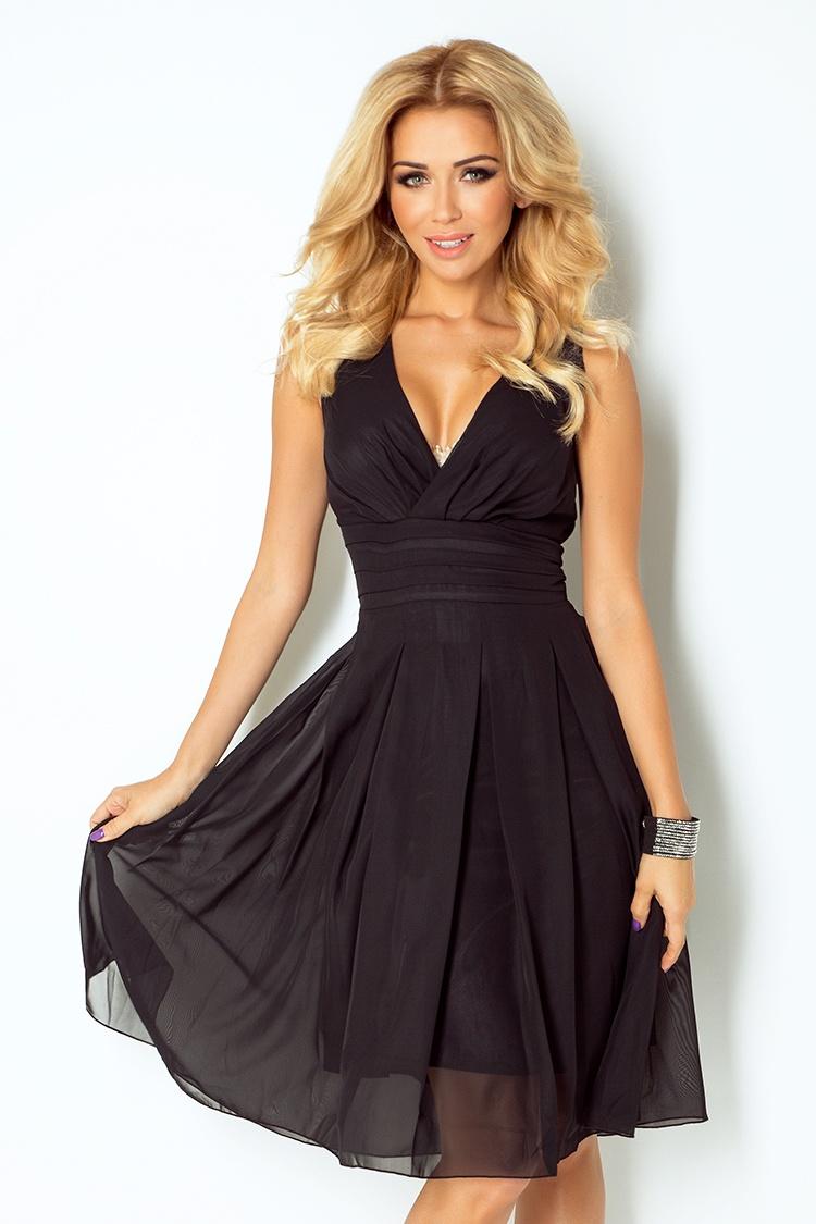 Dámské šifonové šaty NUMOCO 35-6 černá (Dámské šaty)