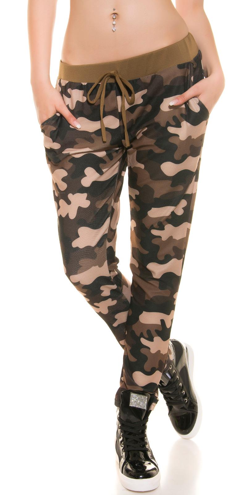 Dámské kalhoty tepláky army 2019 hnědé 18a813cc67