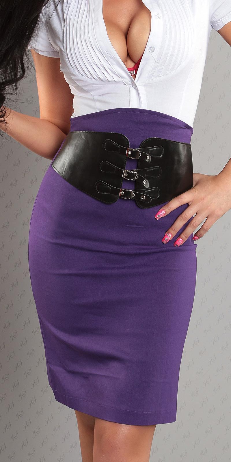 Koucla dámská elegantní sukně s opaskem 2056 fialová (Dámská sukně)