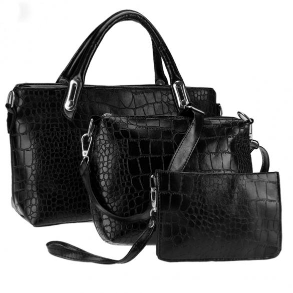 Dámská kabelka sada 3 kusy 2218 černá (Dámská kabelka)