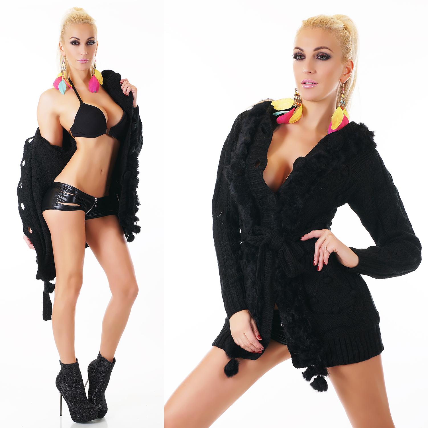 Dámský pletený svetr/kabátek s kožešinkou Zn. Orcelly 2274 černá (Dámský svetr)