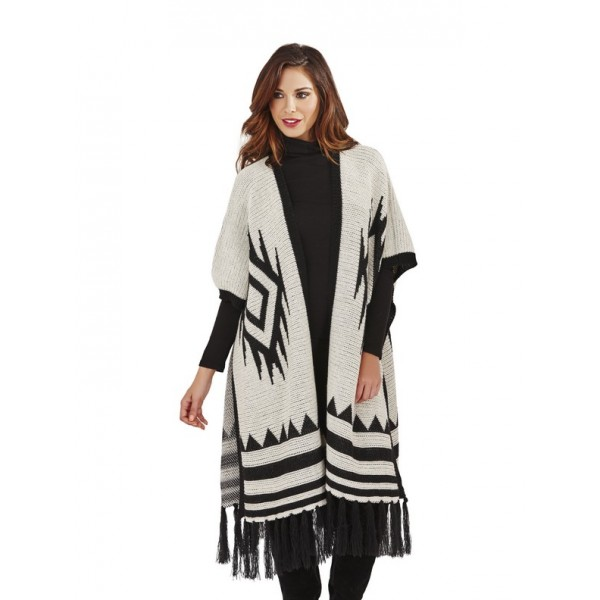 ec499ced3b29 Dámský elegantní dlouhý pletený svetr pončo 2380 černá