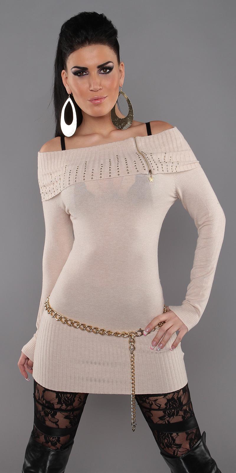 Dámský luxusní dlouhý svetr Koucla 2412 béžová 47bec881f4