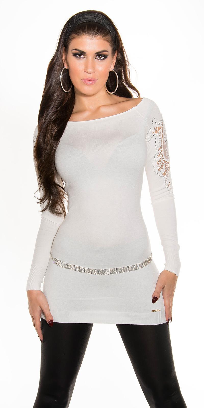 d83146cb18e5 Dámský dlouhý svetr s kamínky Koucla 2416 bílá